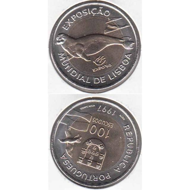 """100$00 BIMETÁLICA 1997 """"EXPO 98 / LOBO MARINHO"""" (BELA/SOB)"""