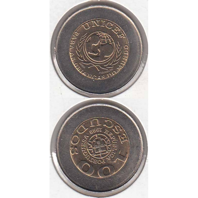 "100$00 BIMETÁLICA 1999 ""UNICEF"" SEM ERRO ""PORTUGUESA"" (BELA/SOB)"