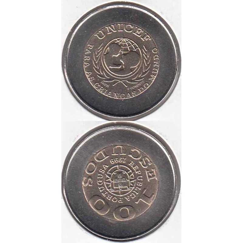 100 escudos 1999 Unicef Com Erro Portugusa (moeda 100$00 Unicef Com Erro Portugusa)
