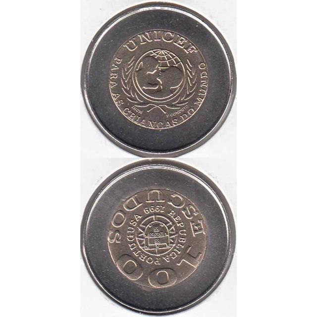 """100$00 BIMETÁLICA 1999 """"UNICEF"""" COM ERRO """"PORTUGUSA"""" (BELA/SOB)"""