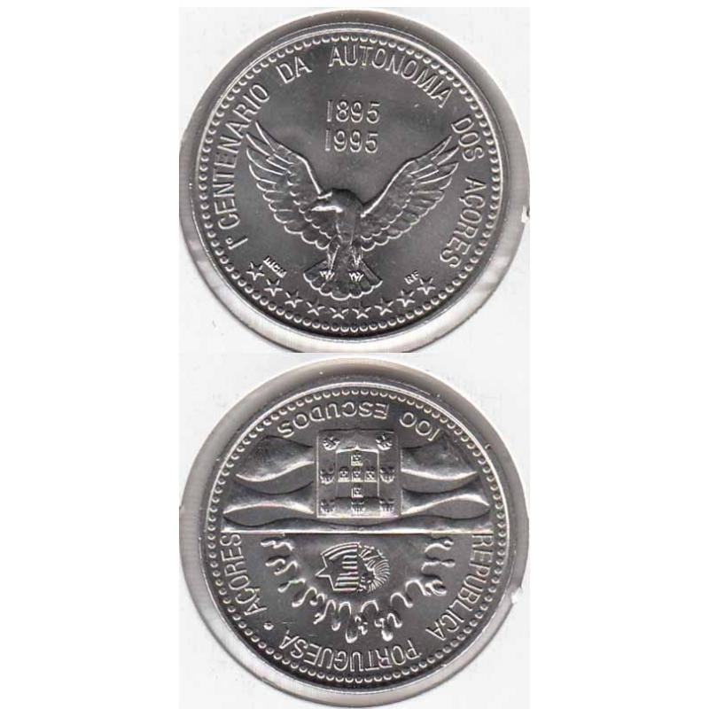 "100$00 CUPRO-NÍQUEL 1995 ""I CENT. AUT. AÇORES"" (BELA/SOB)"
