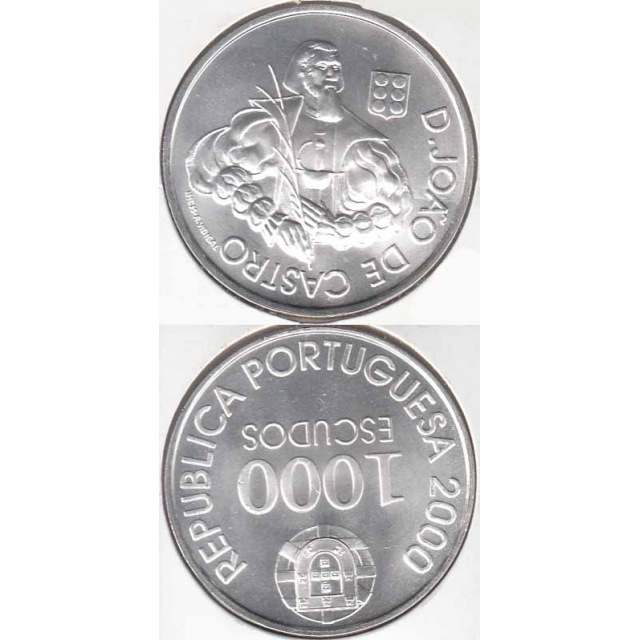 """1000$00 PRATA 2000 """"D. JOÃO DE CASTRO"""" (BELA/SOB)"""