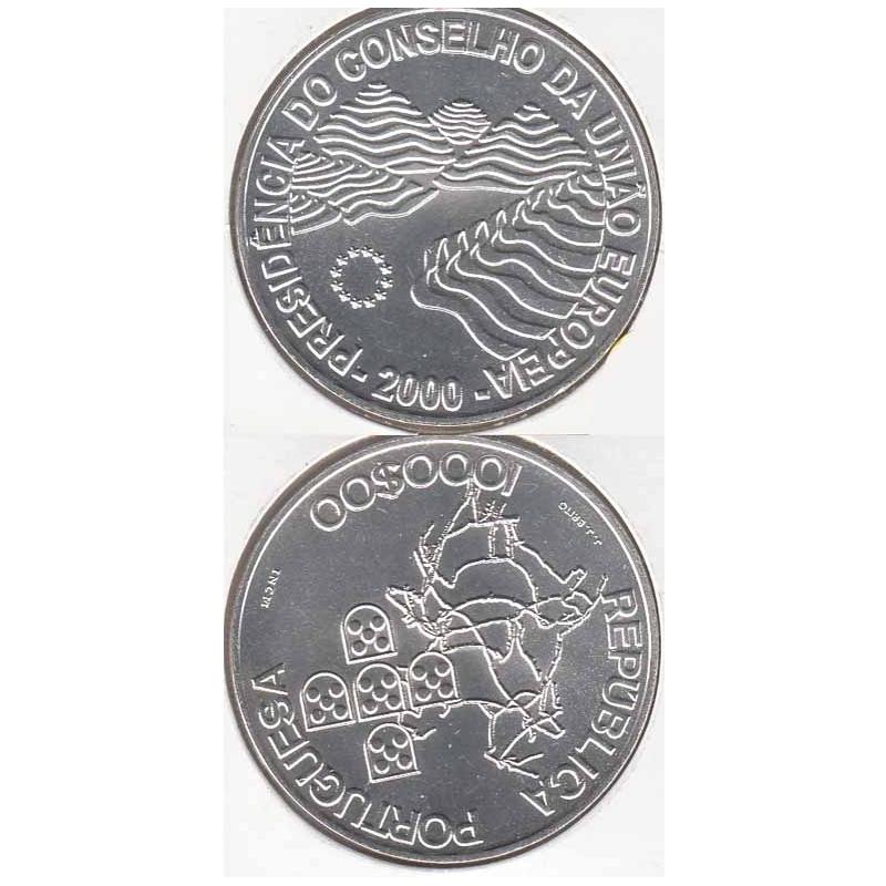 1000 Escudos prata 2000 Pres. Cons. União Europeia (moeda 1000$00 Pres. Cons. União Europeia)