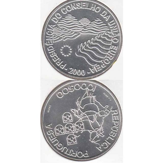 """1000$00 PRATA 2000 """"PRES. CONS. UNIÃO EUROPEIA"""" (BELA/SOB)"""