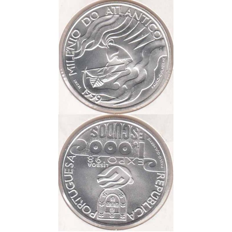 "1000$00 PRATA 1999 ""MILÉNIO DO ATLÂNTICO"" (BELA/SOB)"
