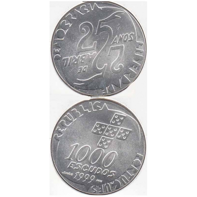 """1000$00 PRATA 1999 """"25 ABRIL"""" (BELA/SOB)"""