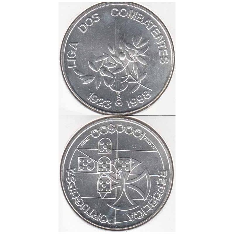 1000 Escudos prata 1998 Liga Dos Combatentes (moeda 1000$00 liga dos Combatentes)