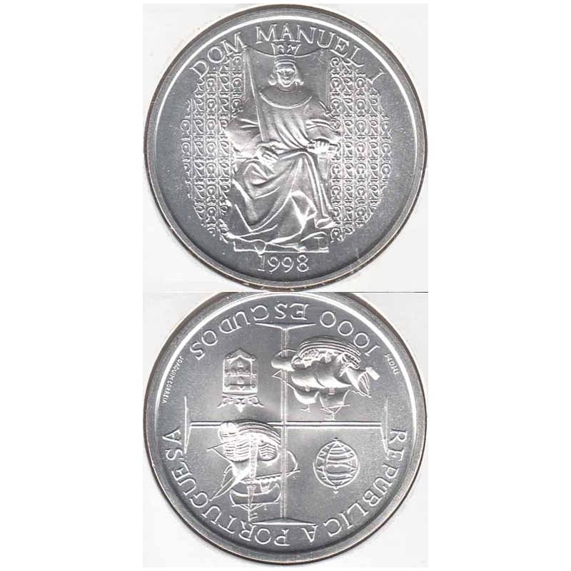 """1000$00 PRATA 1998 """"D.MANUEL I"""" (BELA/SOB)"""