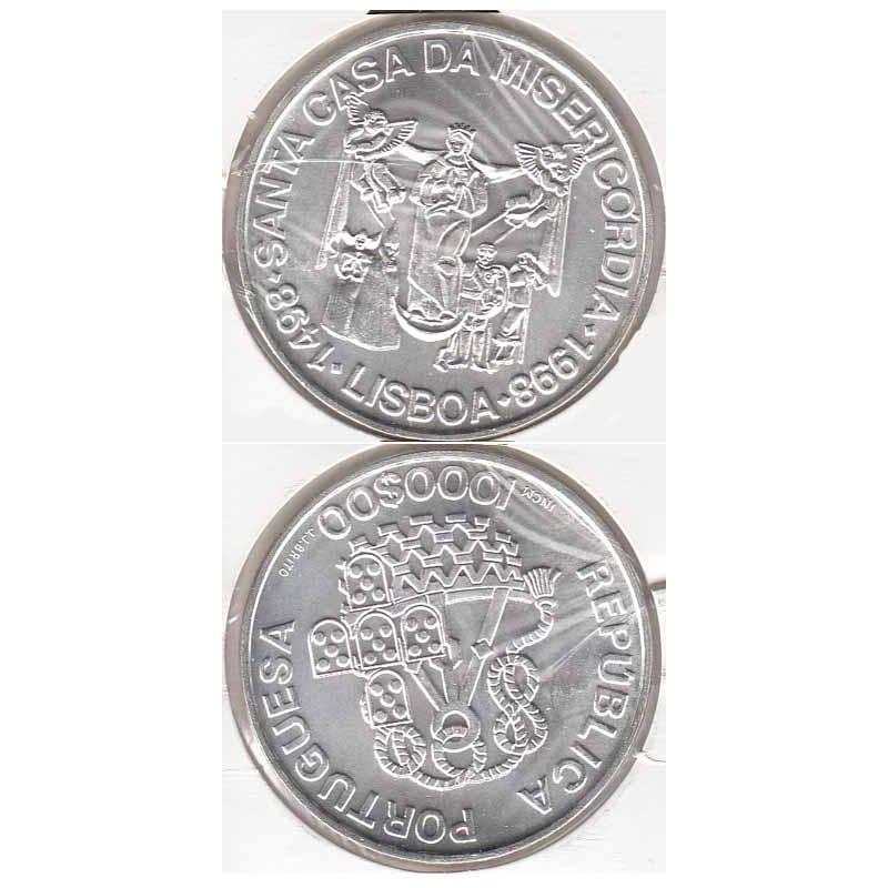 "1000$00 PRATA 1998 ""STª CASA DA MISERICÓRDIA"" (BELA/SOB)"