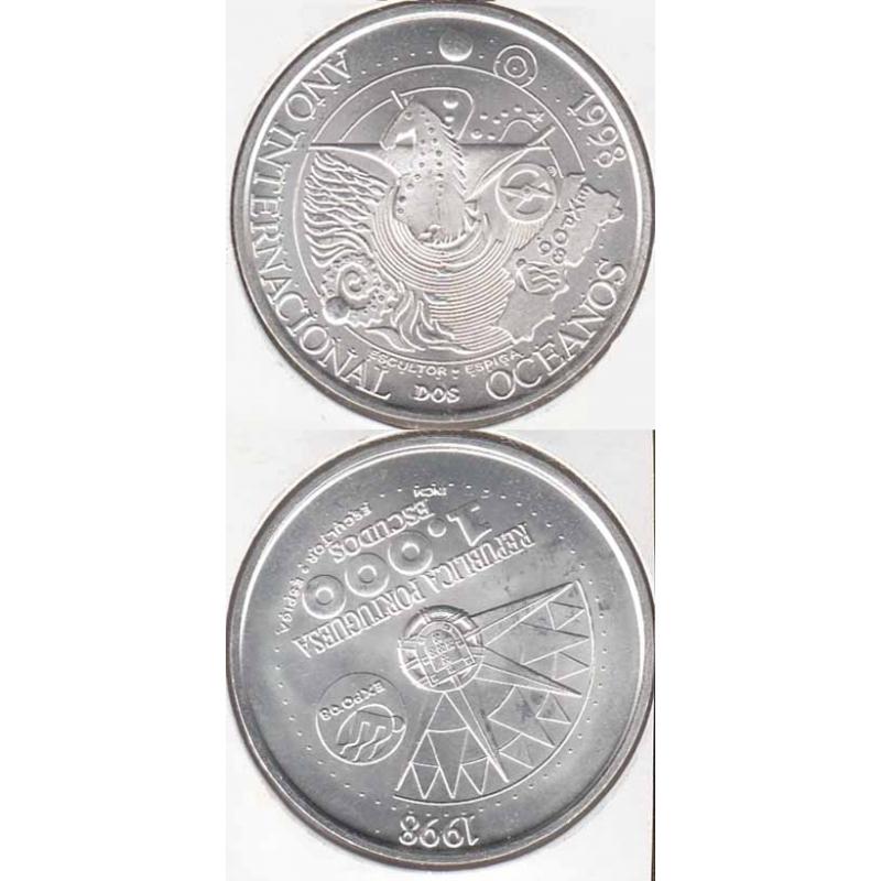 1000 Escudos prata 1998 Ano Int. Oceanos (moeda 1000$00 Ano Intern. dos Oceanos)