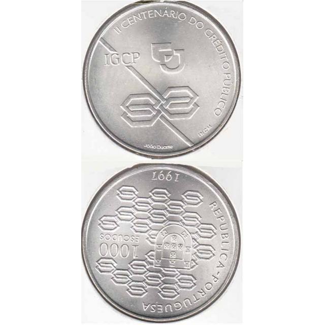 """1000$00 PRATA 1997 """"CRÉDITO PÚBLICO"""" (BELA/SOB)"""