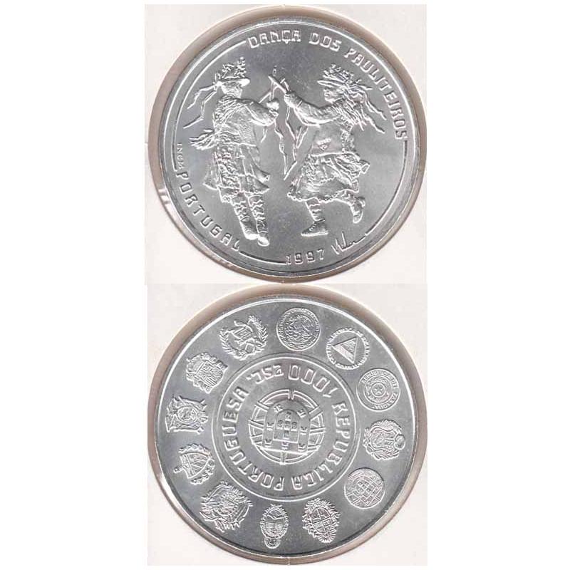 1000 Escudos prata 1997 Dança Pauliteiros (moeda 1000$00 Dança dos Pauliteiros)