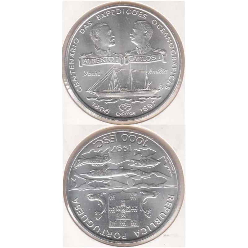 """1000$00 PRATA 1997 """"EXPEDIÇOES OCEANOGRAFICAS"""" (BELA/SOB)"""