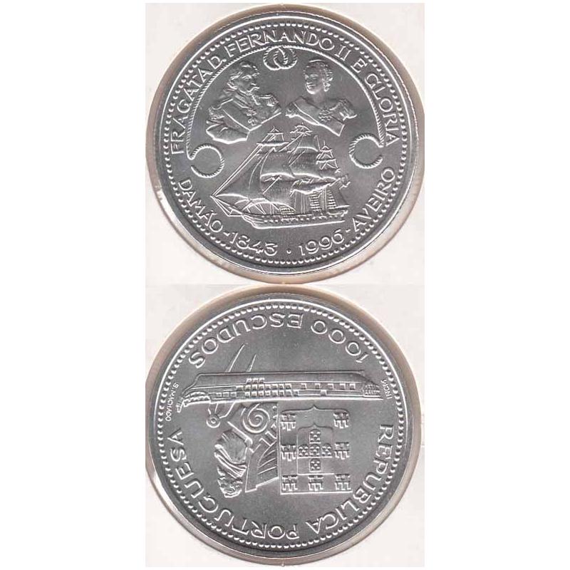 1000 Escudos Prata 1996 Fragata Fernando & Glória ( moeda 1000$00 Fragata Fernando e Glória)