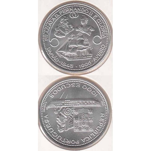 "1000$00 PRATA 1996 ""FRAGATA FERNANDO & GLÓRIA"" (BELA/SOB)"