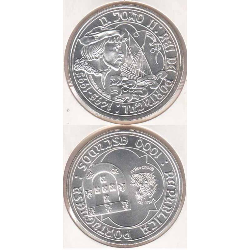 1000 Escudos Prata 1995 D. João II (moeda 200$00 D. João II)