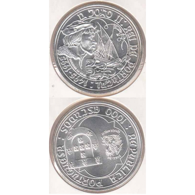"1000$00 PRATA 1995 ""D. JOÃO II"" (BELA/SOB)"