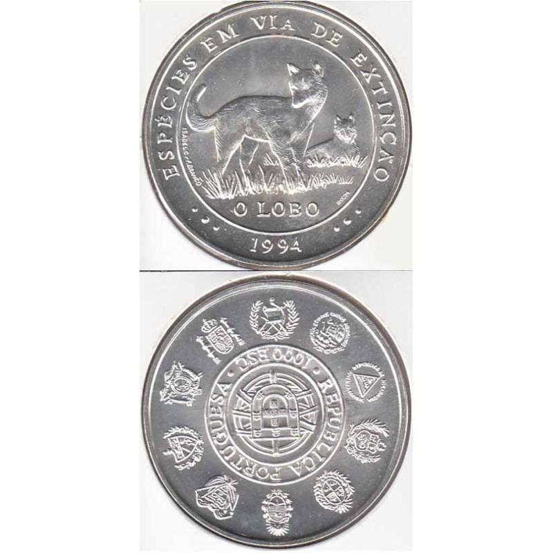 1000 Escudos Prata 1994 O Lobo (moeda 1000$00 O Lobo)