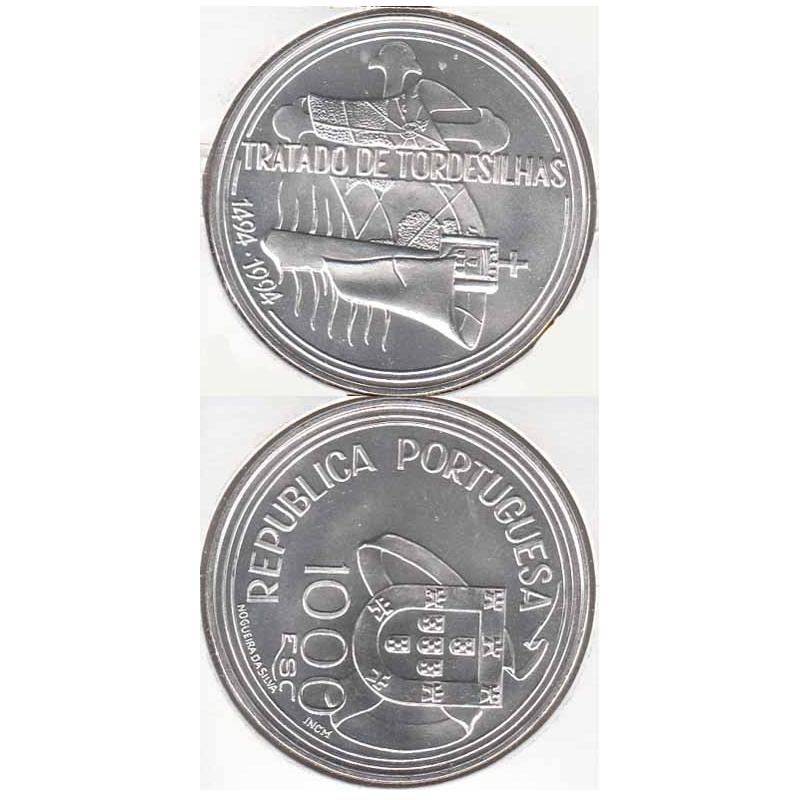 1000 Escudos Prata 1994 Tratado de Tordesilhas (moeda 1000$00 Tratado de Tordesilhas)