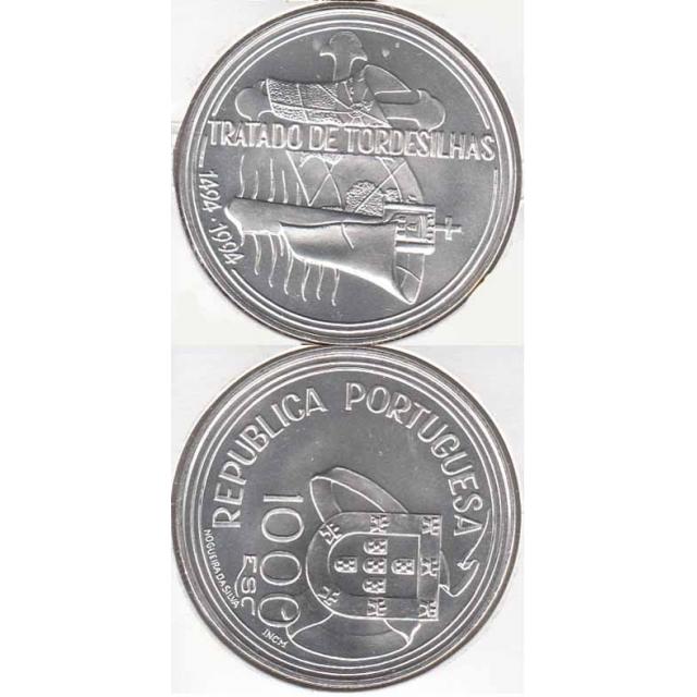"""1000$00 PRATA 1994 """"TRATADO DE TORDOSILHAS"""" (BELA/SOB)"""