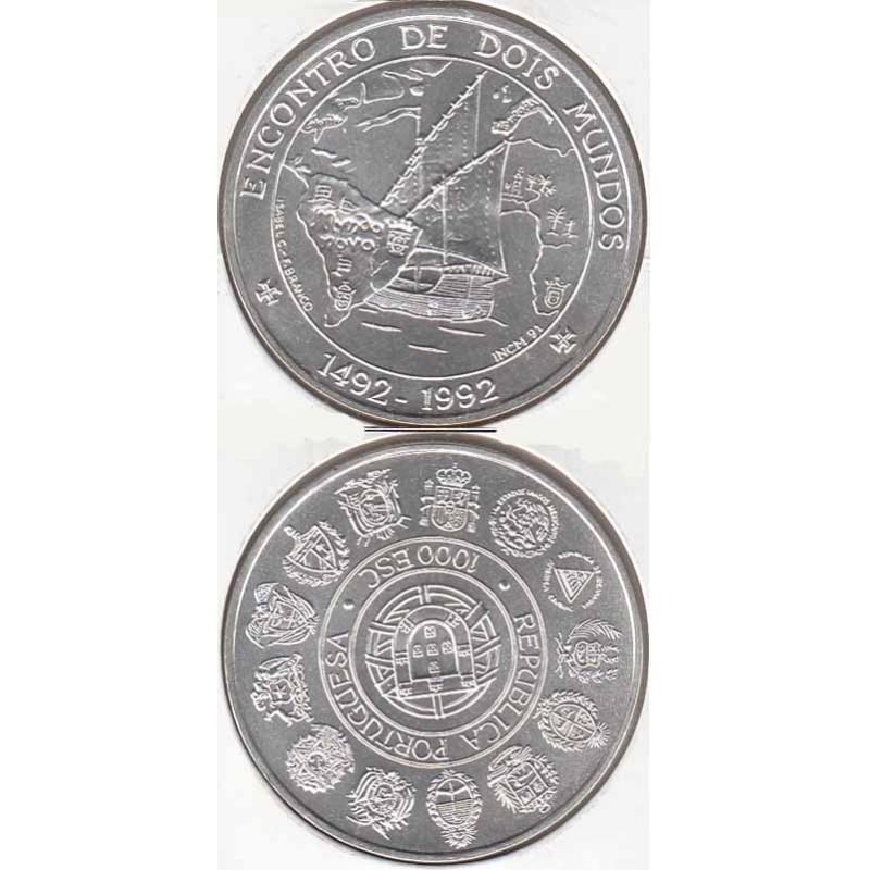 """1000$00 PRATA 1992 """"ENCONTRO DOIS MUNDOS"""" (BELA/SOB)"""
