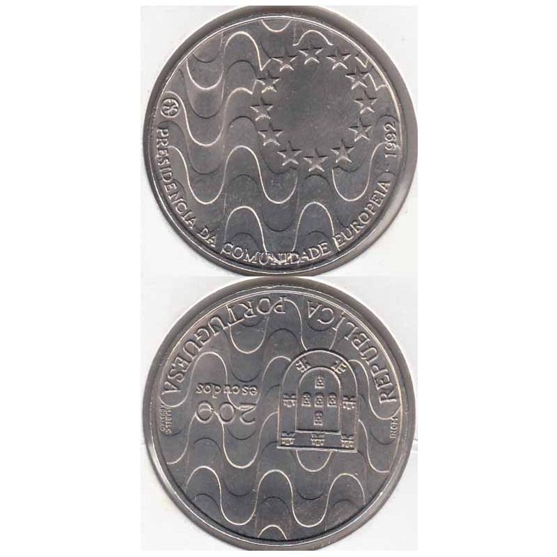 200 Escudos 1992 Presidência Comunidade Europeia cupro-níquel (moeda 200$00 Presidência Comunidade Europeia)