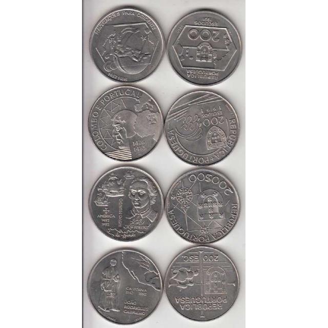 4x Moedas 200$00 CUPRO-NÍQUEL 1991/92 - III SERIE DESCOBRIMENTOS PORTUGUESES