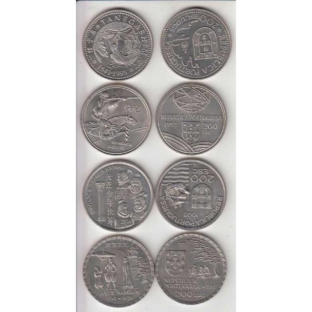 4x Moedas 200$00 CUPRO-NÍQUEL 1993 - IVSERIE DESCOBRIMENTOS PORTUGUESES