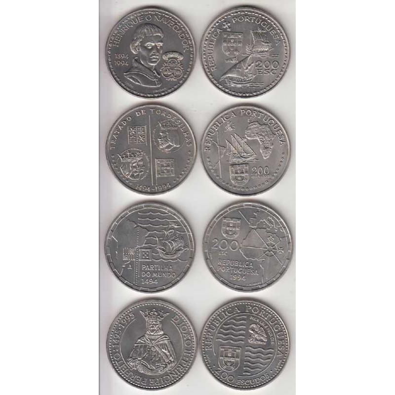 4x Moedas 200$00 CUPRO-NÍQUEL 1994 - V SERIE DESCOBRIMENTOS PORTUGUESES