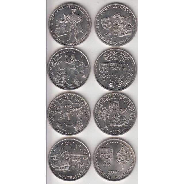 4x Moedas 200$00 CUPRO-NÍQUEL 1995 - VI SERIE DESCOBRIMENTOS PORTUGUESES
