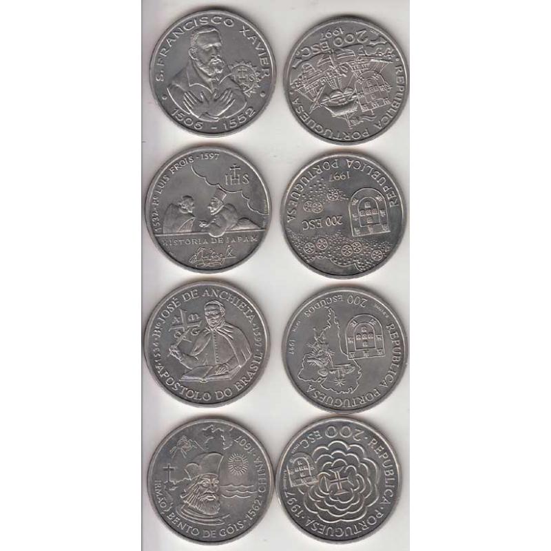 4x Moedas 200$00 CUPRO-NÍQUEL 1997 - VIII SERIE DESCOBRIMENTOS PORTUGUESES