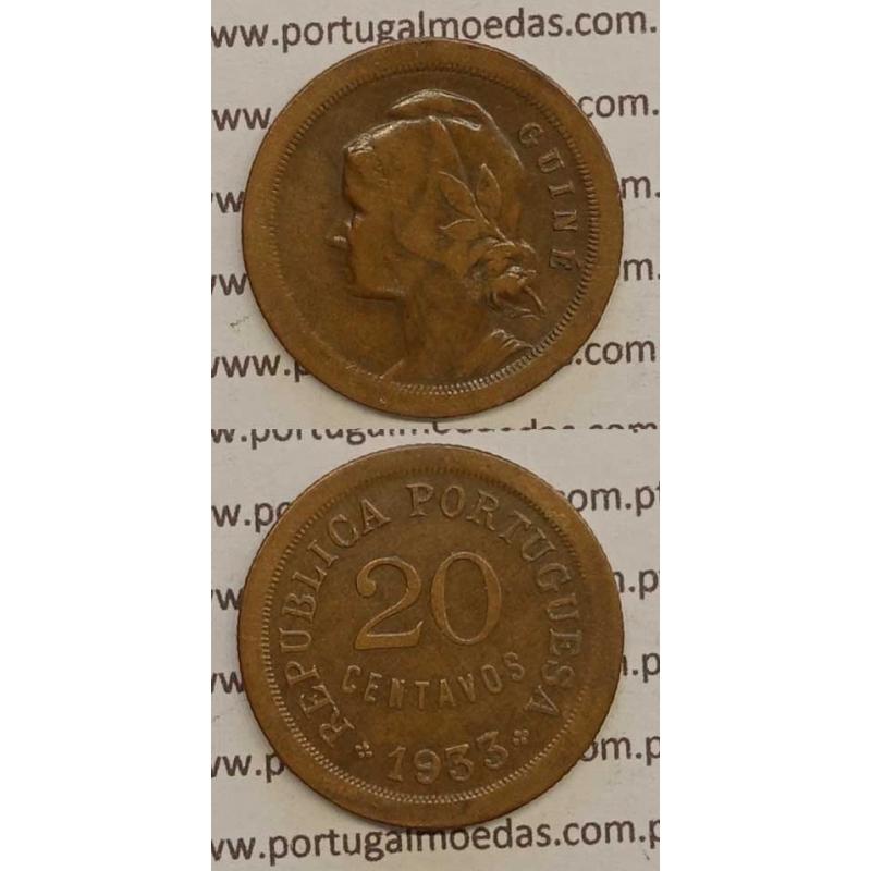 GUINÉ - 20 CENTAVOS BRONZE 1933 (MBC)