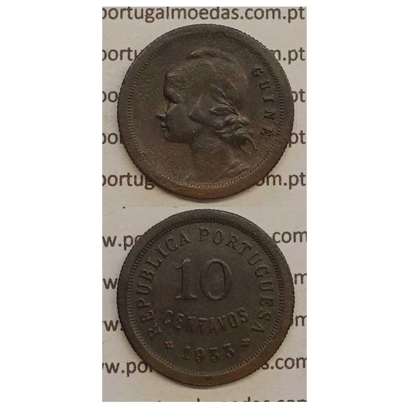 GUINÉ - 10 CENTAVOS BRONZE 1933 (MBC+)