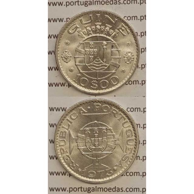 GUINÉ - 10$00 CUPRO-NÍQUEL 1973 (SOB)
