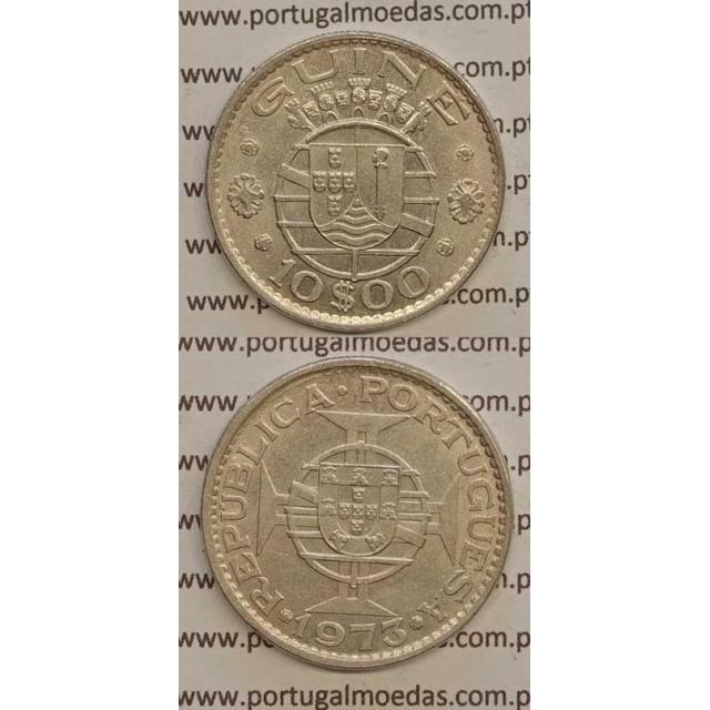 GUINÉ - 10$00 CUPRO-NÍQUEL 1973 (MBC+/BELA-)