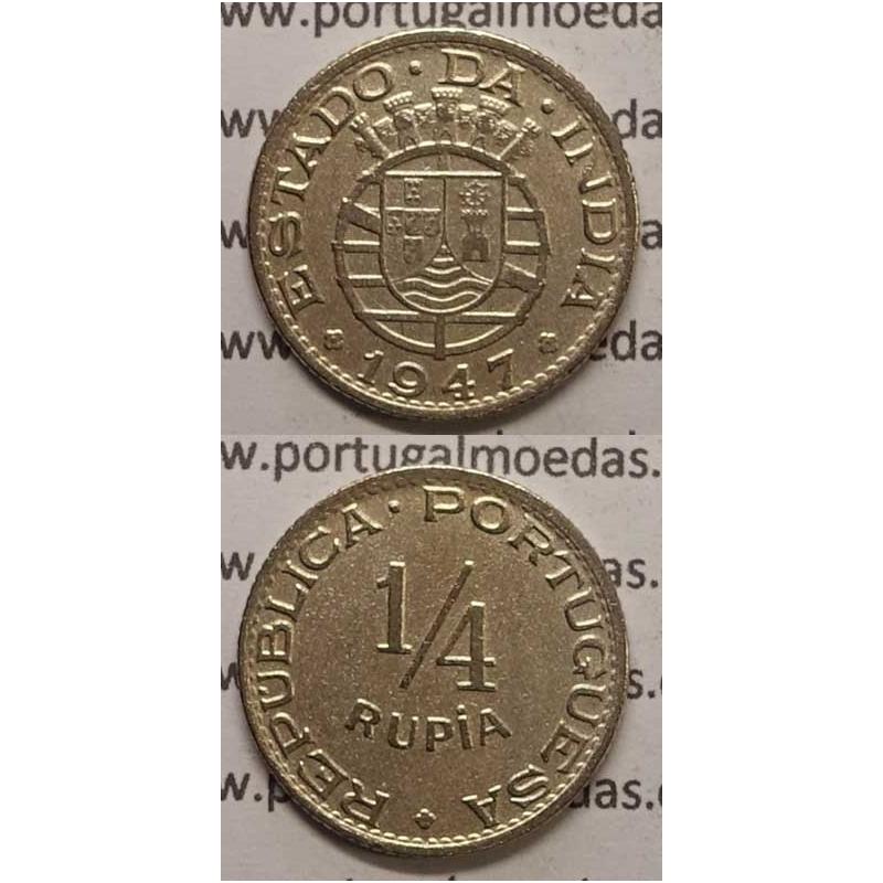 ÍNDIA - 1/4 RUPIA CU.NIQUEL 1947 (MBC+)