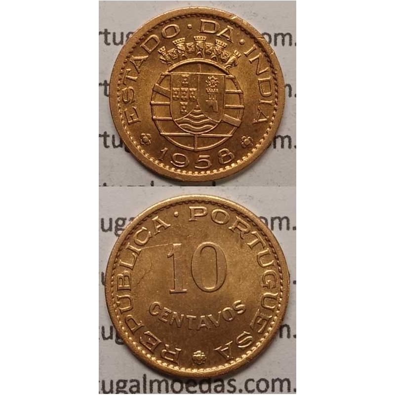 ÍNDIA - 10 CENTAVOS BRONZE 1958 (SOB)
