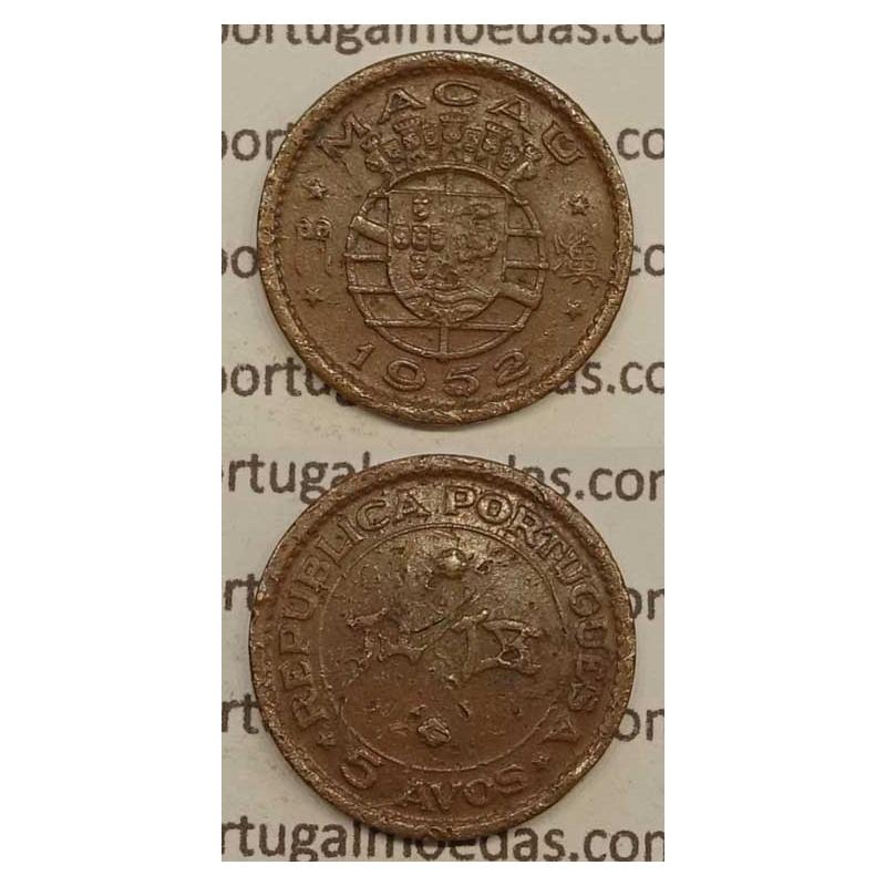 Macau 5 Avos 1952 Bronze, Macao Portuguese Colony 5 avos 1952, (BC-) Ex-Colónia Macau, World Coins Macao KM 1
