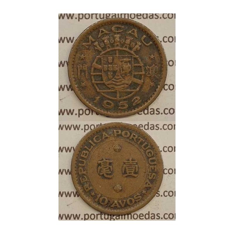 Macau 10 Avos 1952 Bronze, Macao Portuguese Colony 10 avos 1952, (BC) Ex-Colónia Macau, World Coins Macao KM 2