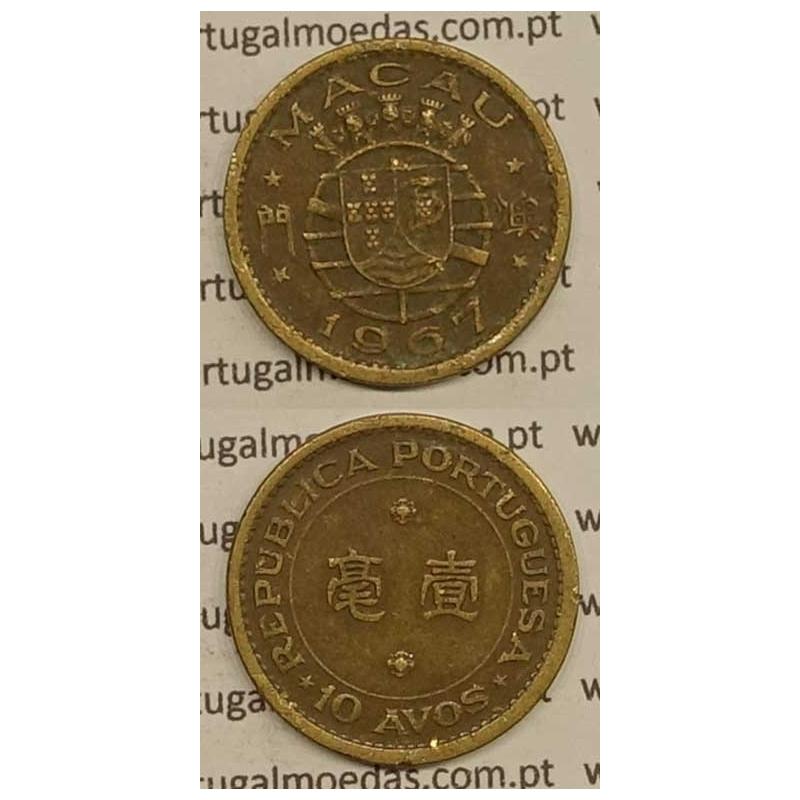 Macau 10 Avos 1967 Latão Níquel , Macao Portuguese Colony 10 avos 1967, Ex-Colónia Macau, (MBC), World Coins Macao KM 2a