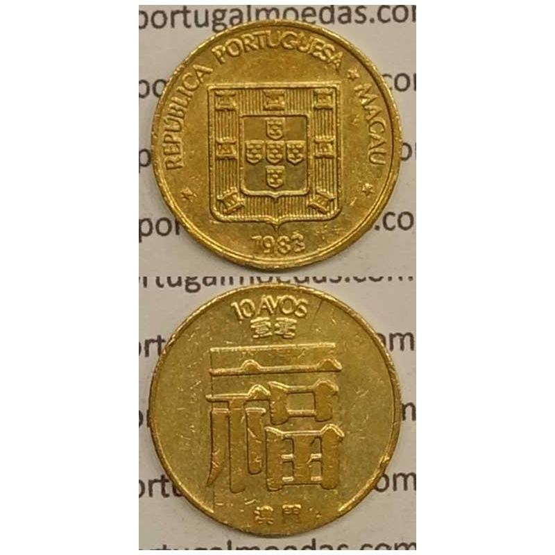 Macau 10 Avos 1983 Latão Níquel , Macao Portuguese Colony 10 avos 1983, (MBC+/Bela-),  Ex-Colónia Macau, World Coins Macao KM20