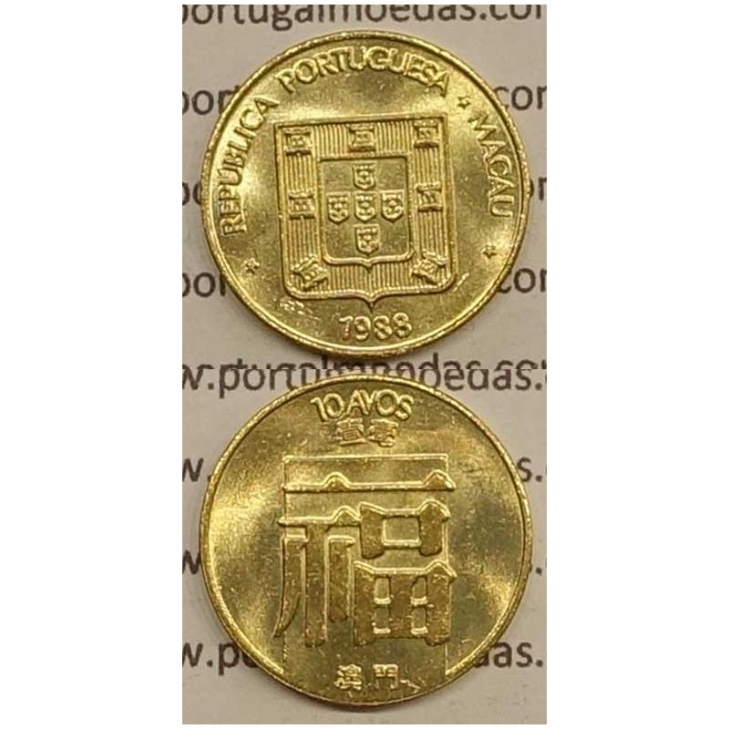 Macau 10 Avos 1988 Latão Níquel , Macao Portuguese Colony 10 avos 1988, (Soberba), Ex-Colónia Macau, World Coins Macao KM 20