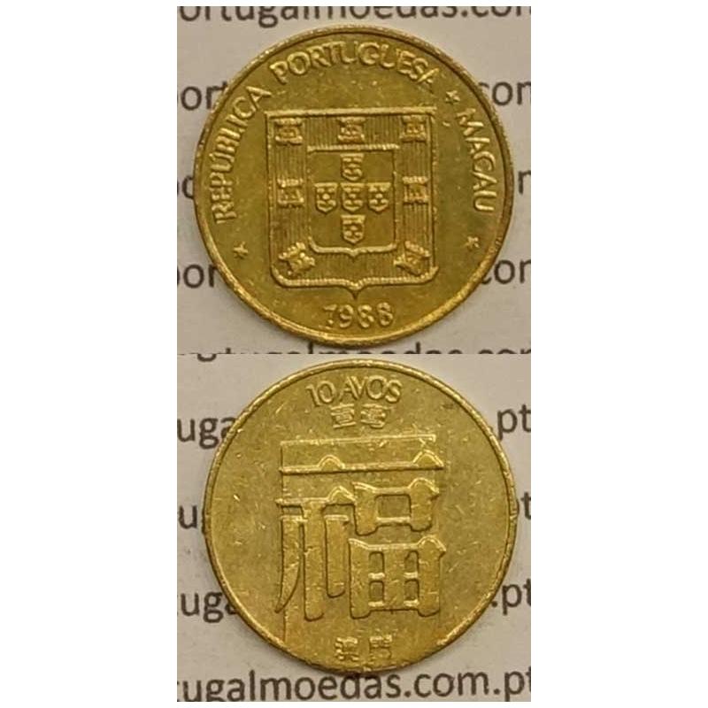 Macau 10 Avos 1988 Latão Níquel , Macao Portuguese Colony 10 avos 1988, (MBC+/Bela-),  Ex-Colónia Macau, World Coins Macao KM 20