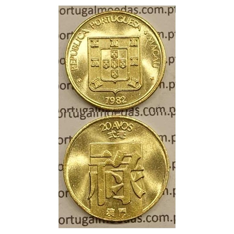 Macau 20 Avos 1982 Latão Níquel , Macao Portuguese Colony 20 avos 1982, (Soberba), Ex-Colónia Macau, World Coins Macao KM 21