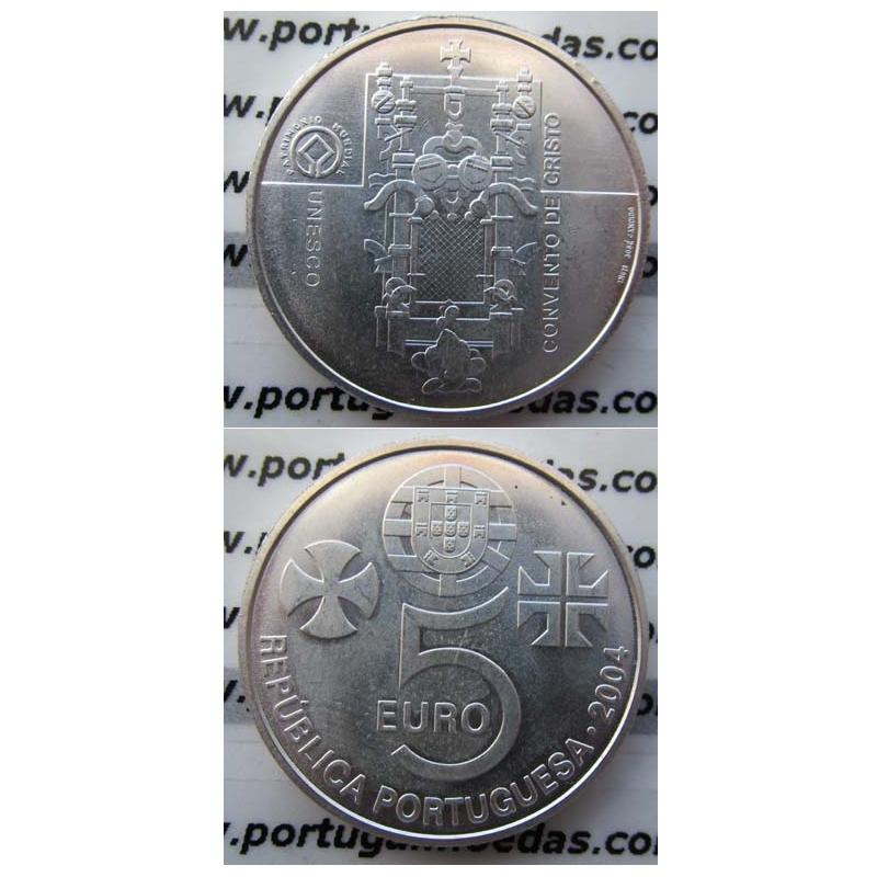 """5 EUROS PRATA 2004 """"CONVENTO DE CRISTO EM TOMAR """" (BELA/SOB)"""