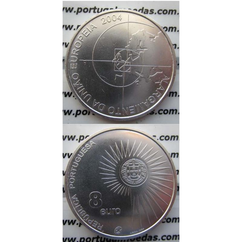 """8 EUROS PRATA 2004 """"ALARGAMENTO DA U.E."""" (BELA/SOB)"""