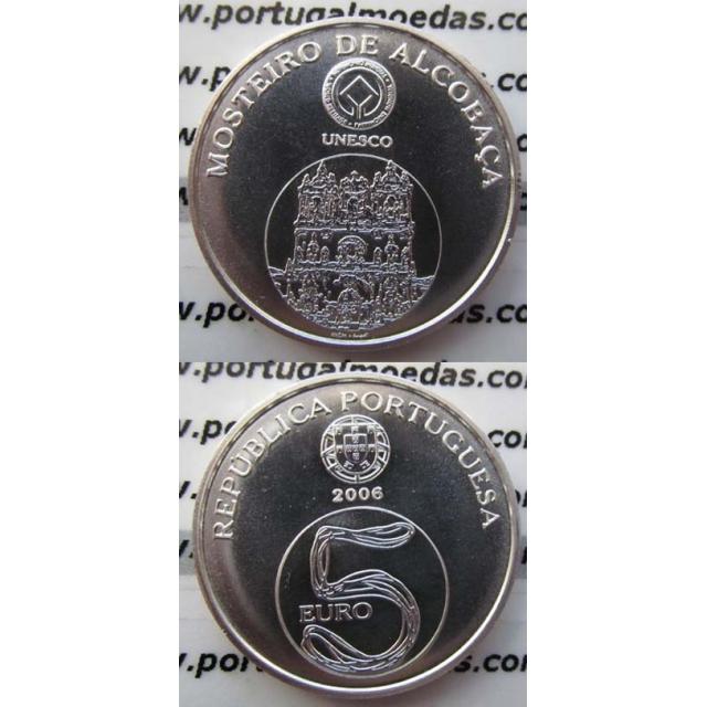 """5 EUROS PRATA 2006 """"MOSTEIRO DE ALCOBAÇA"""" (BELA/SOB)"""