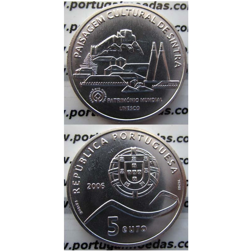 """5 EUROS PRATA 2006 """"PAISAGEM CULTURAL DE SINTRA"""" (BELA/SOB)"""
