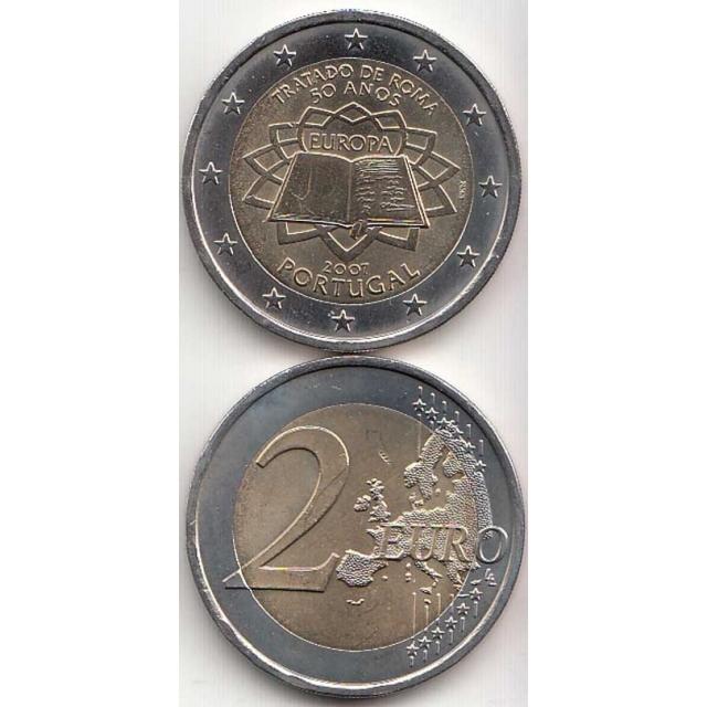 """2 EUROS BIMETÁLICA 2007 """"50ºANIVERSÁRIO DA ASSINATURA DO TRATADO DE ROMA"""" (BELA/SOB)"""