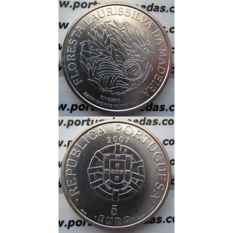 "5 EUROS PRATA 2007 ""FLORESTA LAURISSILVA"" (BELA/SOB)"